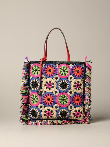 Red (v) tote bag in multicolor woven raffia