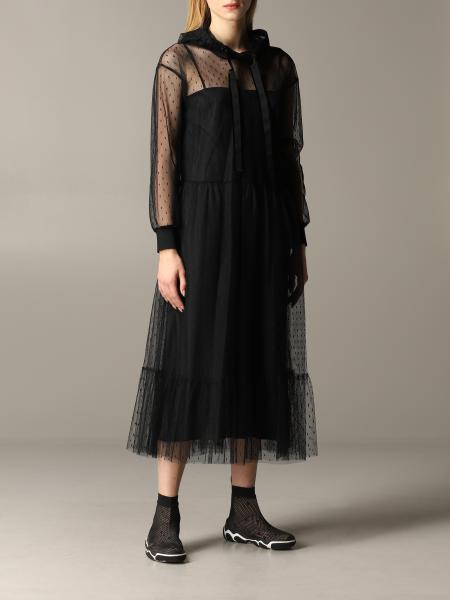 Red Valentino dress in point d'esprit tulle with hood