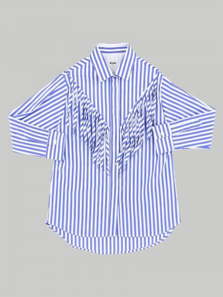 Msgm Kids striped shirt with fringes