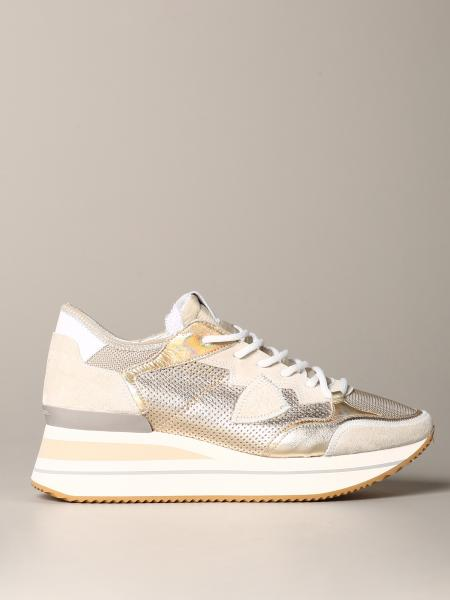 Philippe Model sneakers in laminated suede and mesh
