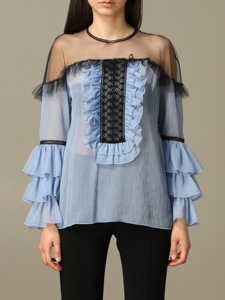 D.exterior shirt with ruffles and embroidery