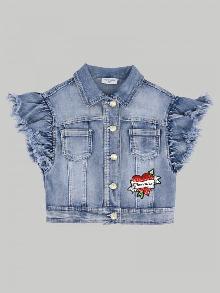 Monnalisa denim vest with Mickey Mouse