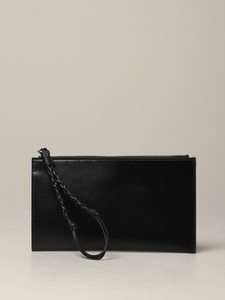 Jil Sander leather clutch bag with logo
