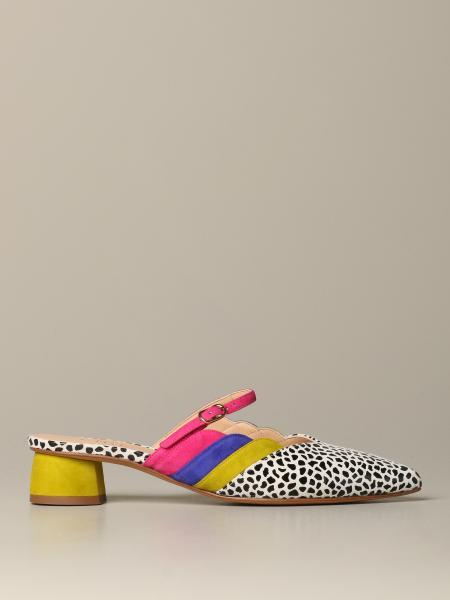 Sandalo Santeno Chie Mihara in camoscio e pelle stampata