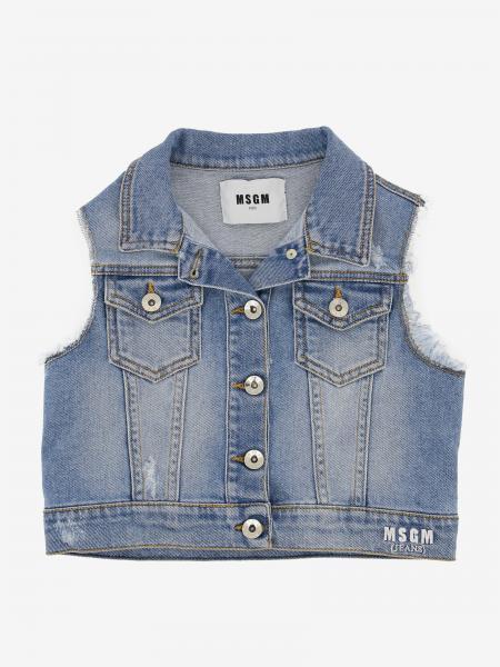 Gilet di jeans Msgm Kids con logo