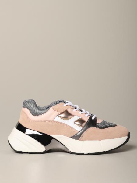 Pinko Sneakers aus laminiertem Wildleder und Mesh