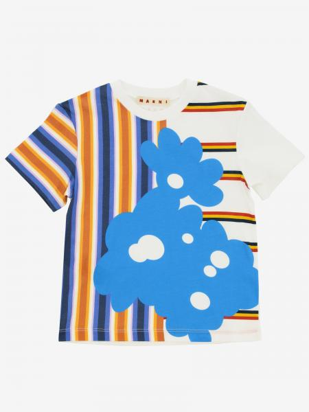 T-shirt Marni a righe con stampa floreale