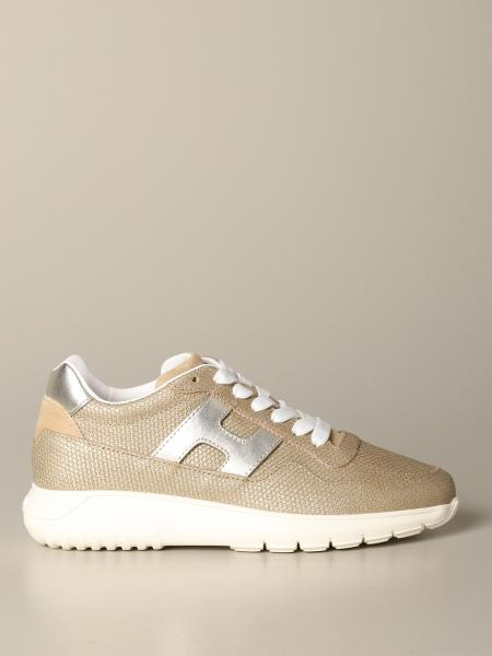Hogan sneakers in lurex canvas and laminated leather