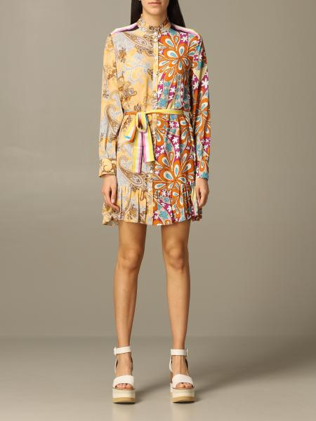 Pinko viscose shirt dress with floral print