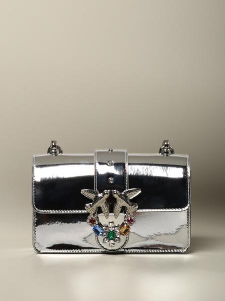Borsa Love Mini Jewels Pinko laminata con strass