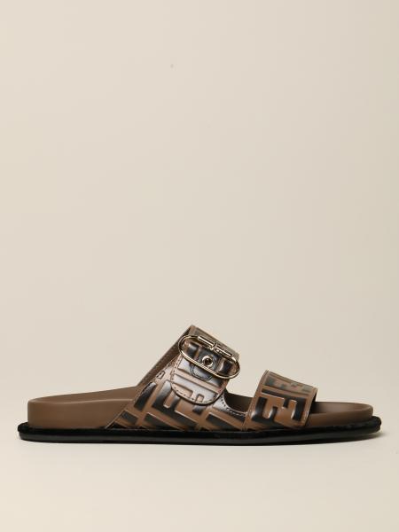 Sandalo Fendi in pelle con monogramma FF
