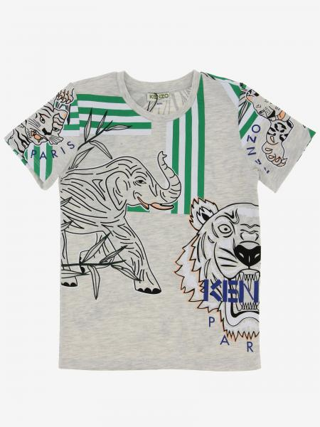 T-shirt Kenzo Junior con stampa Tiger Kenzo all over