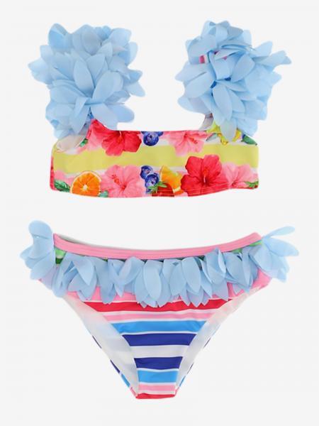 Costume Monnalisa a bikini con applicazioni floreali
