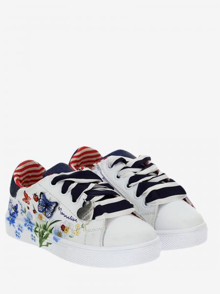 Sneakers Monnalisa in pelle con stampa floreale