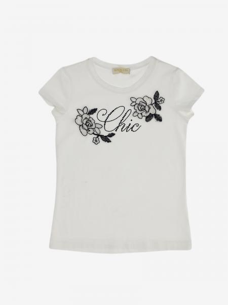 T-shirt Monnalisa Chic con ricami floreali