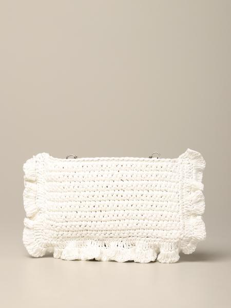Red (v) clutch in raffia woven with ruffles