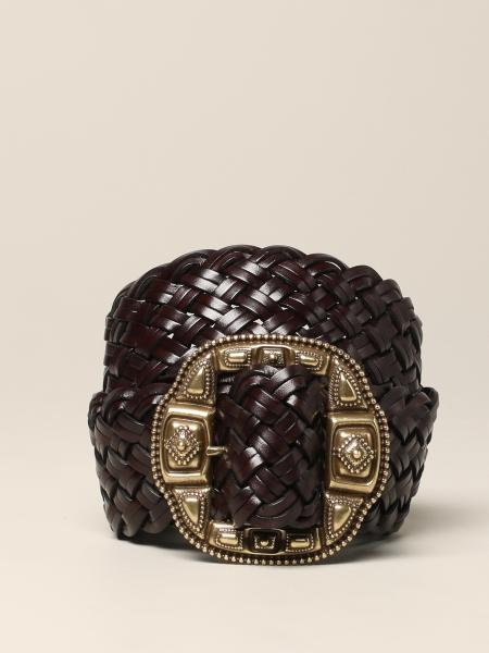 Etro belt in woven leather with metal buckle