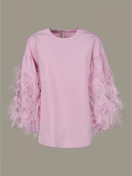 Camicia Valentino a maniche lunghe con piume