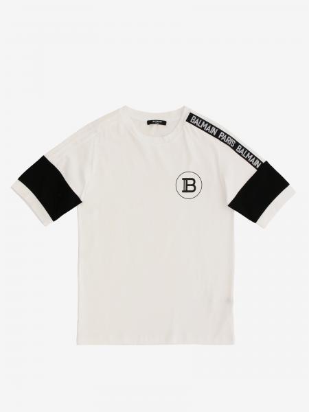 T-shirt Balmain con stampa logo e bande