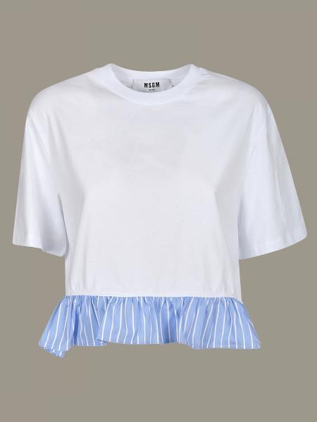 Msgm T-Shirt mit gestreiftem Volant