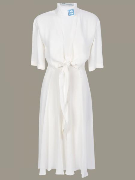 Off White dress with knot and contrasting detail