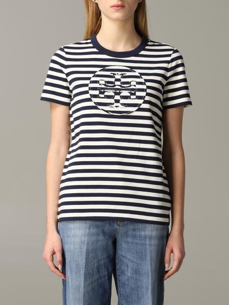 T-shirt Tory Burch a righe con logo