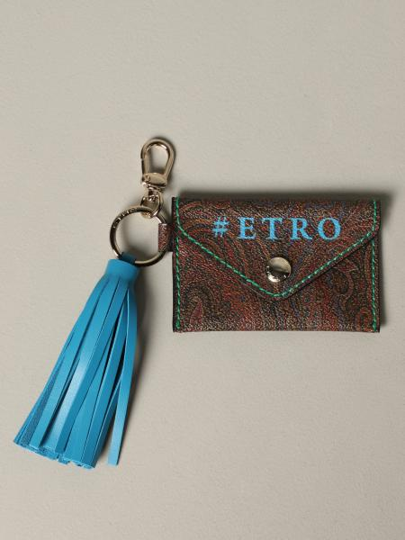 Etro keychain in leather with paisley print