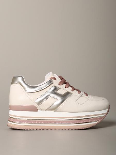 Hogan 金属感和光滑真皮运动鞋