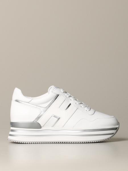 Hogan H222 Midi Sneakers aus glattem und laminiertem Leder
