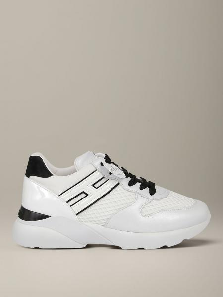 Hogan sneakers in leather and mesh with elongated H