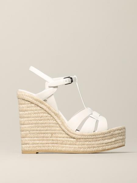 Saint Laurent Tribute wedge sandal in leather