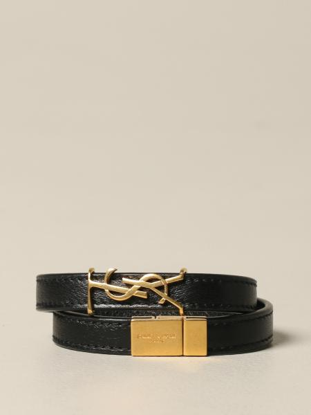Saint Laurent leather bracelet with YSL monogram