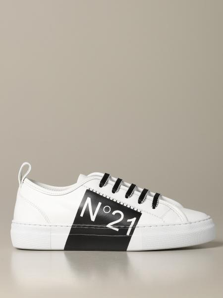 Sneakers N° 21 in pelle con stampa logo