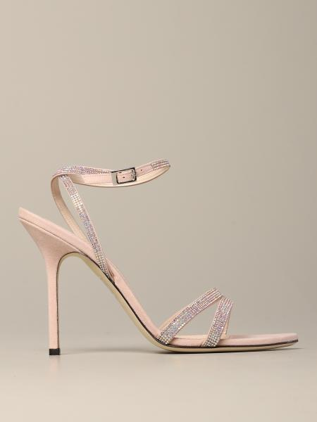 Heeled sandals pollini sandal in leather with micro rhinestones Pollini - Giglio.com