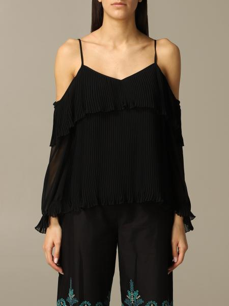 Long-sleeved pleated Twin-set top
