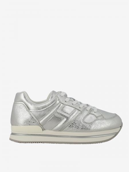 Hogan sneakers in laminated leather with rounded H