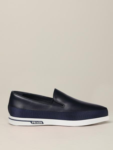 Prada leather loafer with logo