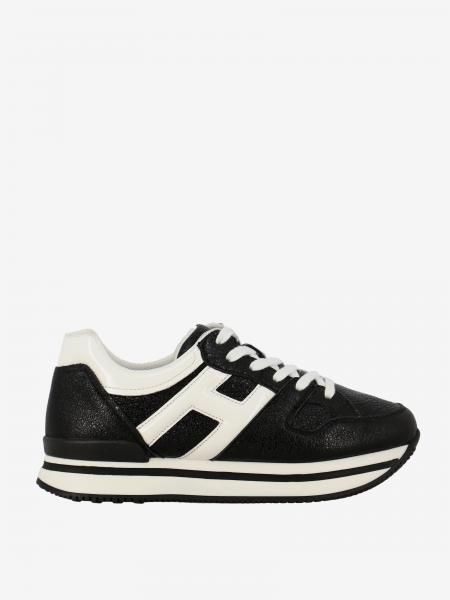 Hogan sneakers in leather with H in patent leather