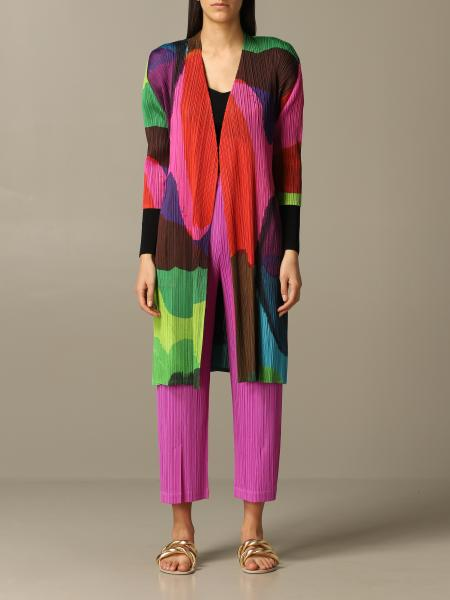 Issey Miyake micro pleated color block coat