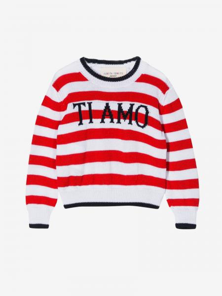Alberta Ferretti Junior striped sweater with the inscription I love you