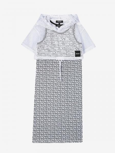 Dkny Kleid mit Kapuze und Logo all over