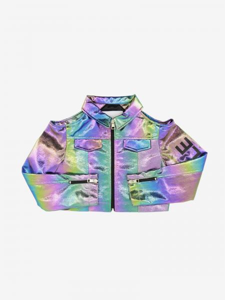 Gaelle Bonheur cropped jacket in multicolor mirrored fabric