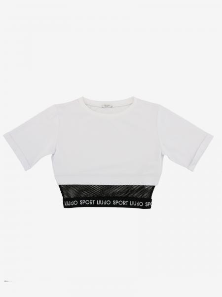 Liu Jo cropped shirt with short sleeves and logo