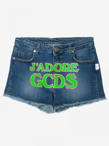 Gcds denim shorts with fluorescent writing