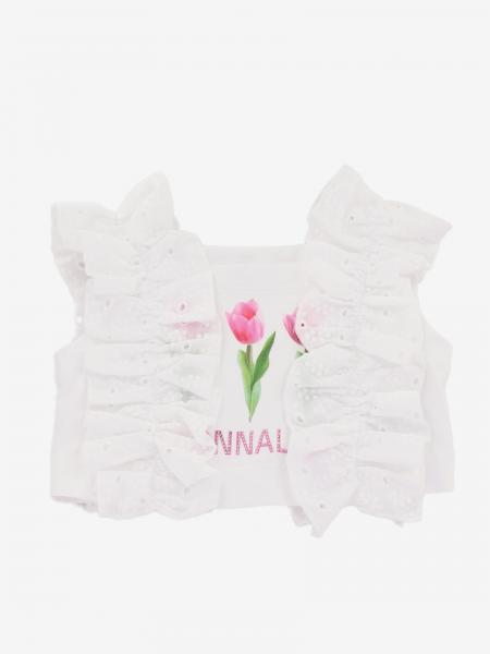 T-shirt cropped Monnalisa con rouches