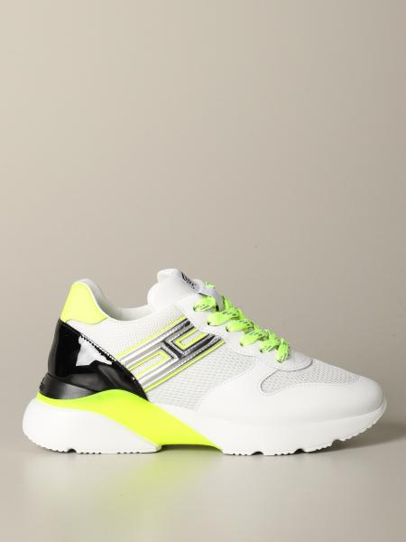 Hogan sneakers in leather and macro mesh with elongated H
