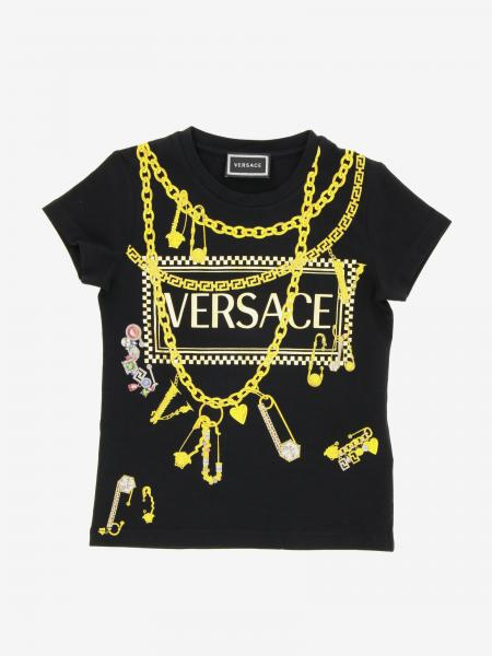 T-shirt Versace Young con stampa logo e spille