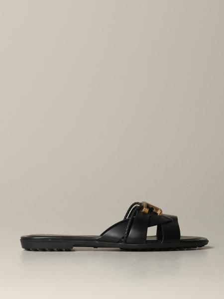 Tod's flat sandal in leather with T logo