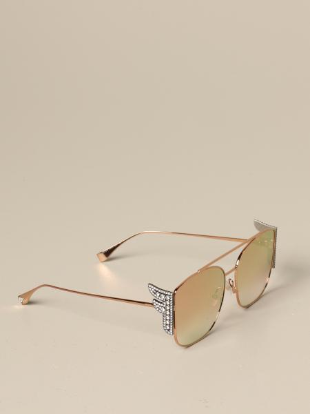 Fendi Metall Brille mit F aus Strass Steinen