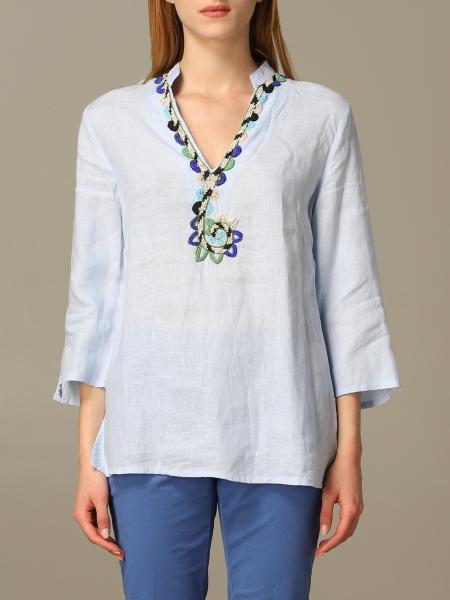 Maliparmi linen shirt with embroidery